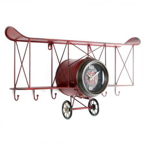 Vintage-Biplane-Clock-With-Shelves